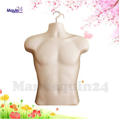 Flesh Mannequin Male Torso - Men's Plastic Hanging Dress Form
