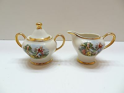Vintage Kingwood China Co Creamer & Sugar Set With Gold Accents Victorian Couple