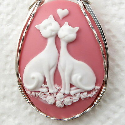 Love Cats Cameo Pendant .925 Sterling Silver Animal Jewelry Art White Resin