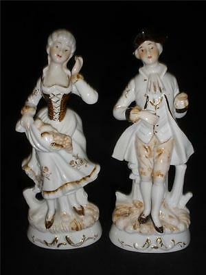 Fabulous Porcelain Figurines X 2 Old Style  Gentleman  And Lady Standing