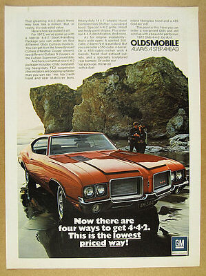 1972 Olds Cutlass 442 Package Hardtop Coupe color photo vintage print Ad