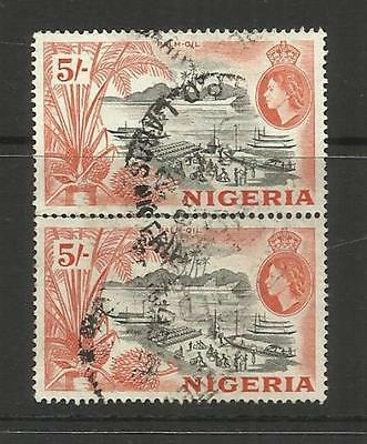 Nigeria ~ 1953 Queen Elizabeth Ii Vertical Pair 5/- Postally Used