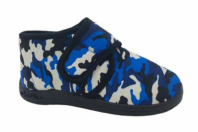 Boys Slippers Grosby Action Blue/White Camo Boot Slipper Size 5-12 Adhesive Tab