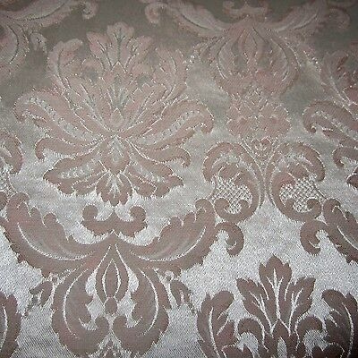 Vintage Upholstery Damask Fabric Silver & Pink Feathers Paris Appt Chic 1960S