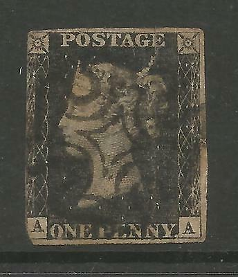 1840 Penny   Black (Aa)    Used Tear At The Top Reasonable Spacefiller