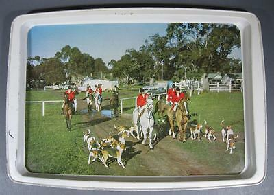 Retro/vintage 60s-70s Willow (Australia) metal HORSES foals hunting motifs tray