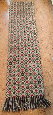 Swedish large, heavy cross-stitched sampler with red flowers on beige, fringe
