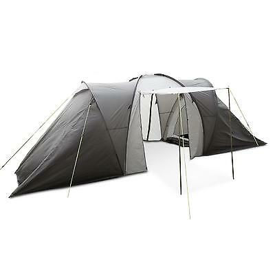 Tente de camping XXL 6 personnes tunnel 560x200x230cm hall 2 chambres - grise