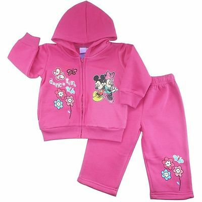 New 1~~4 Pink Winter Tracksuit Minnie Mouse Top Jacket Hood Kids Girls Outfits