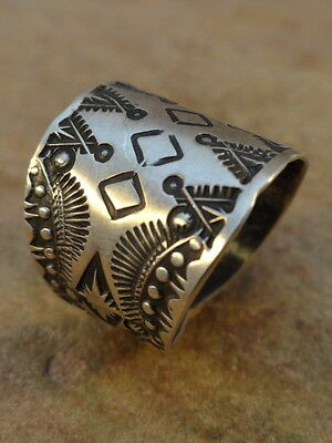 Old Style Navajo Sterling Silver Stamped Cigar Band Ring  sz 10