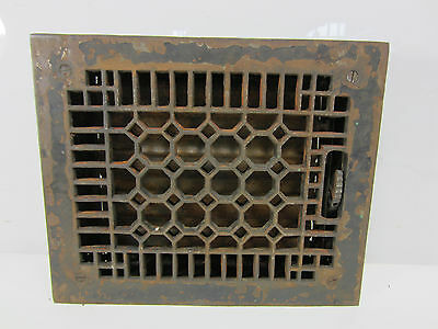 "Vintage Cast Iron Honeycomb Floor Grate with Damper 11"" x 9"" ASG#22"