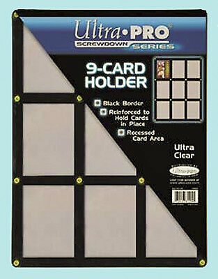 ULTRA PRO BLACK FRAME 9 CARD SCREWDOWN HOLDER New Clear Trading Storage Display