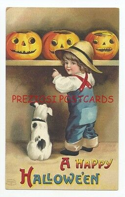 CLAPSADDLE - A HAPPY HALLOWEEN - BOY, Dog & SHELF of JOLs ca1908