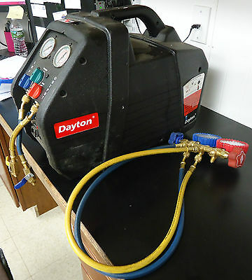 (RI2) Dayton 4UKV9 HVAC Recovery Machine with Imperial Manifold Gauges