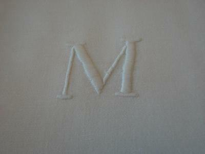 10 Vintage Irish Linen Napkins Classic Satin Band Center Monogram M Exc 21""
