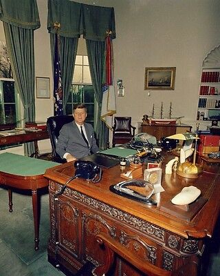 President John F. Kennedy at his desk in the Oval Office 1962 New 8x10 Photo