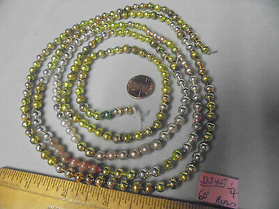"""Christmas Garland Mercury Glass Mixed Colors 60"""" Long 1/4"""" Beads #D345 Vintage"""