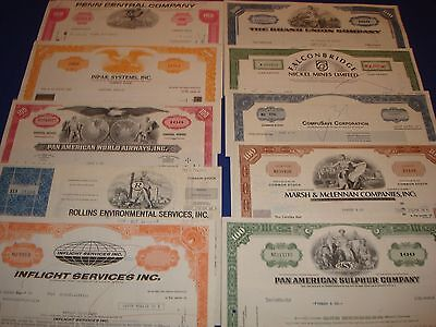 Stock Certificates 10 pieces Common Stock