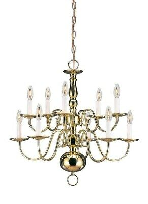 Sea Gull 10-lights Two-Tier Traditional Chandelier Lighting In Polished Brass