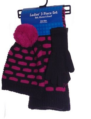 Womens Set Hot Pink Black Crocheted Winter Scarf Hat Gloves Gift S M L XL NEW
