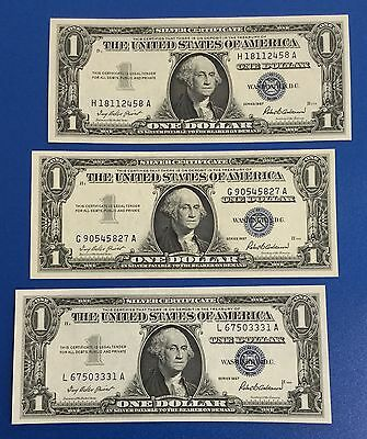 1957 $1 Blue Choice Crisp AU SILVER Certificates SEt of 3! X458 Old US Currency