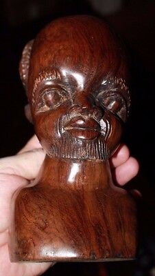 """Large 8.5"""" carved figure of African bust of goateed man rosewood mid-century"""
