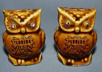 Owl Salt and Pepper Shaker Set Hand Painted Vintage Florida Souvenir