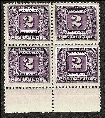 Canada #j2 Postage Due  Vf Mnh  Block (Mch17