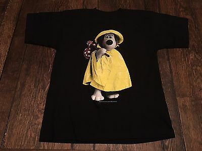 "vintage 1989 WALLACE & GROMIT ""dog"" mens L large black shirt BBC cartoon RARE }{"