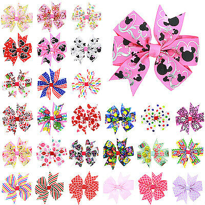 Newest 28 Colors Printed Bowknot Hairpin Kids Baby Girls Hair Bow Clips Barrette