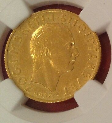Albania, 20 Franga Ari 1937, Gold Coin, Condition:aUNC - AU58, KM#20
