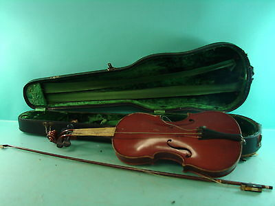 Vtg Copy of Nicolaus Amati German Violin Instrument w/ Hard Case & Weidlich Bow