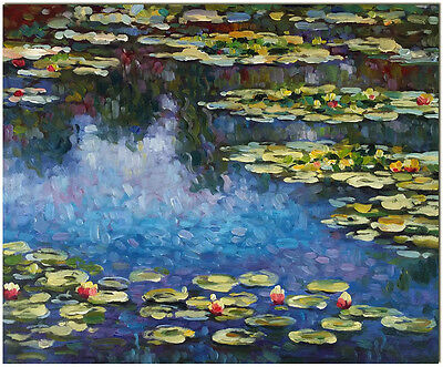 Water Lilies - Hand Painted Claude Monet Oil Painting On Canvas Wall Art 20x16""