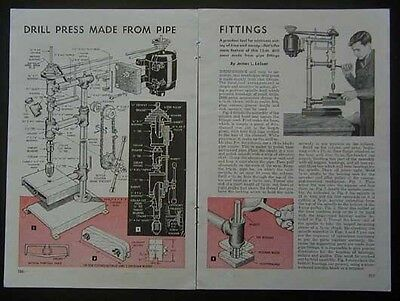Bench Drill Press built from Pipe Parts 1948 How-To build PLANS
