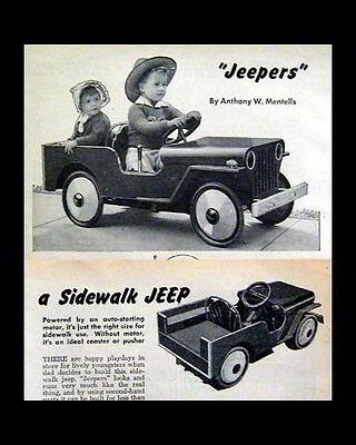 WWII Sidewalk Car Jeep Jeepers How-To build PLANS 1948 battery power