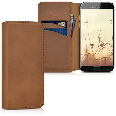 Genuine Leather Flip Folio Wallet Case for Samsung Galaxy A3 2017