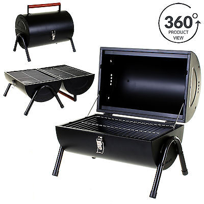 Marko BBQ Portable Barrel Barbecue Steel Table Top Outdoor Garden Camping Picnic