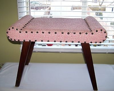 FAB RARE Authentic Mid Century Pink Leatherette & Walnut Vanity Bedroom Stool