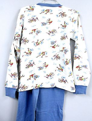 VTG 50s Dr. Denton Boys Pajamas Cotton Knit Olympic Print Christmas Story Look S
