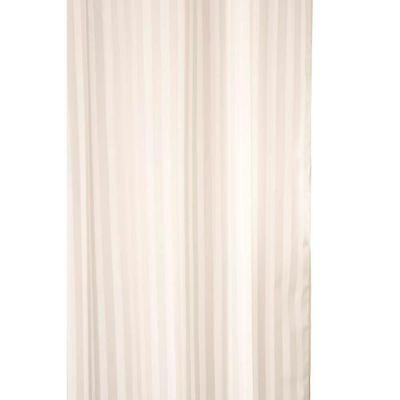 Croydex Quality ivory woven stripe textile shower curtain Weighted Hem  180x80cm