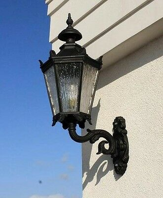 Huge 98/47 Victorian wall cast iron lantern/lamp with bracket.Patio,conservatory
