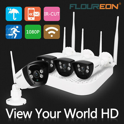 FLOUREON Wireless Wifi 1080P DVR NVR Outdoor 1.0MP Camera CCTV Security System