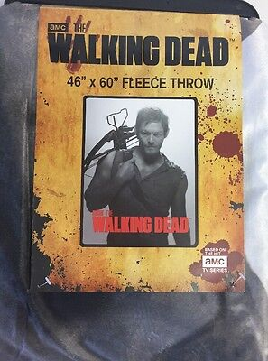 NEW Walking Dead AMC Original Daryl Dixon Fleece Blanket Throw 46 X 60