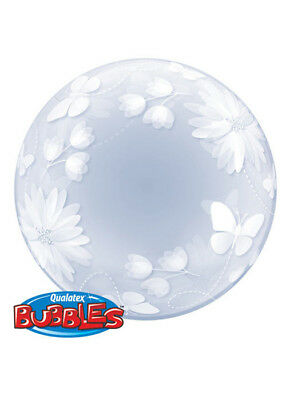 Butterflies and Flowers Transparent Deco Bubble Helium Balloon