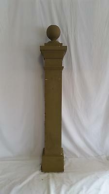"Antique Wooden Newel Post w/ Ball Finial about 8"" by 8"" by 48"" tall"