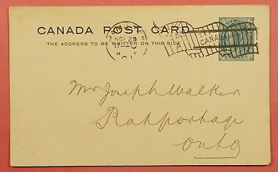 1901 Canada Invalute Flag Cancel Postal Card Hamilton Cancel