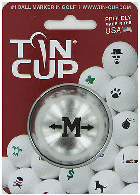 Tin Cup. Golf Ball Marker System. Alpha Players Letter M