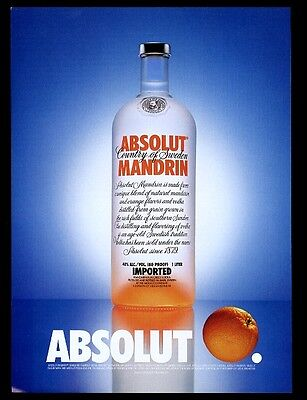 1999 Absolut Orange Mandarin vodka bottle with fruit photo vintage print ad