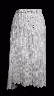 "Rare Plus Size Antique French Edwardian White Crochet Cotton Petticoat 46"" Waist"