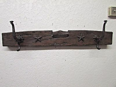 Rustic Mesquite Hat Rack Mexican-Western-Wood-Antique-Iron Hooks-Coat Rack-Stars